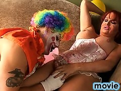 Naughty tgirl getting fucked and sucked by a dirty clown